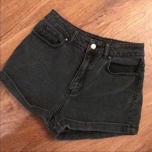 faded black high waisted denim shorts